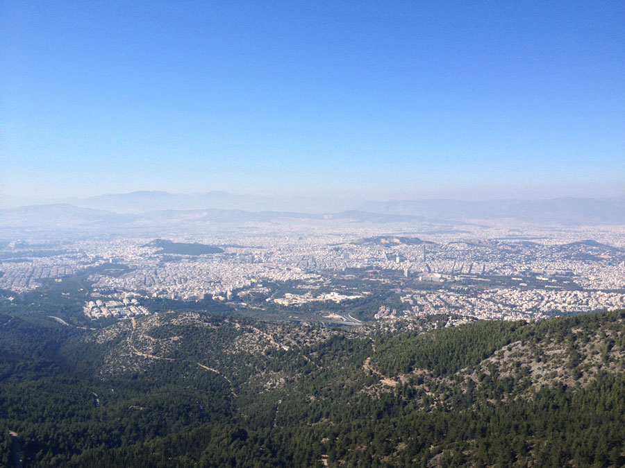 Υμηττός βουνό θέα