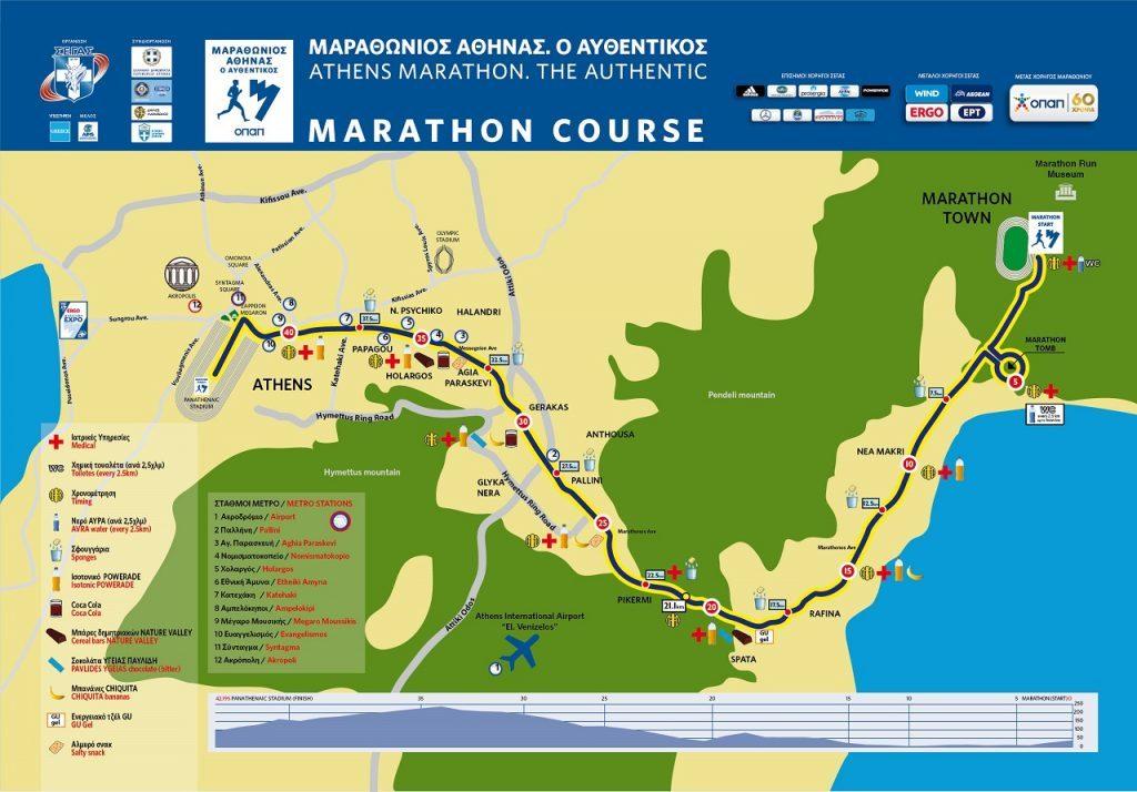 Αυθεντικός Μαραθώνιος της Αθήνας - Χάρτης διαδρομής - Κλασσική διαδρομή - Διαδρομή Μαραθώνιου Αθήνας