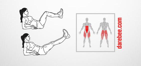 ασκήσεις κάτω κοιλιακών - Crunch Kicks - Γυμναστική - Κοιλιακοί - γράμμωση