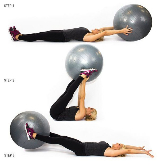 ασκήσεις κάτω κοιλιακών με μπάλα - Leg Curls - Γυμναστική - Κοιλιακοί - γράμμωση
