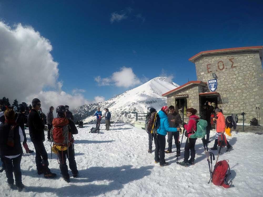Ορειβάτες και περιπατητές στο Καταφύγιο της Δίρφυς